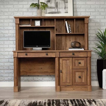 Vine Crest Computer Desk With Hutch - Vintage Oak