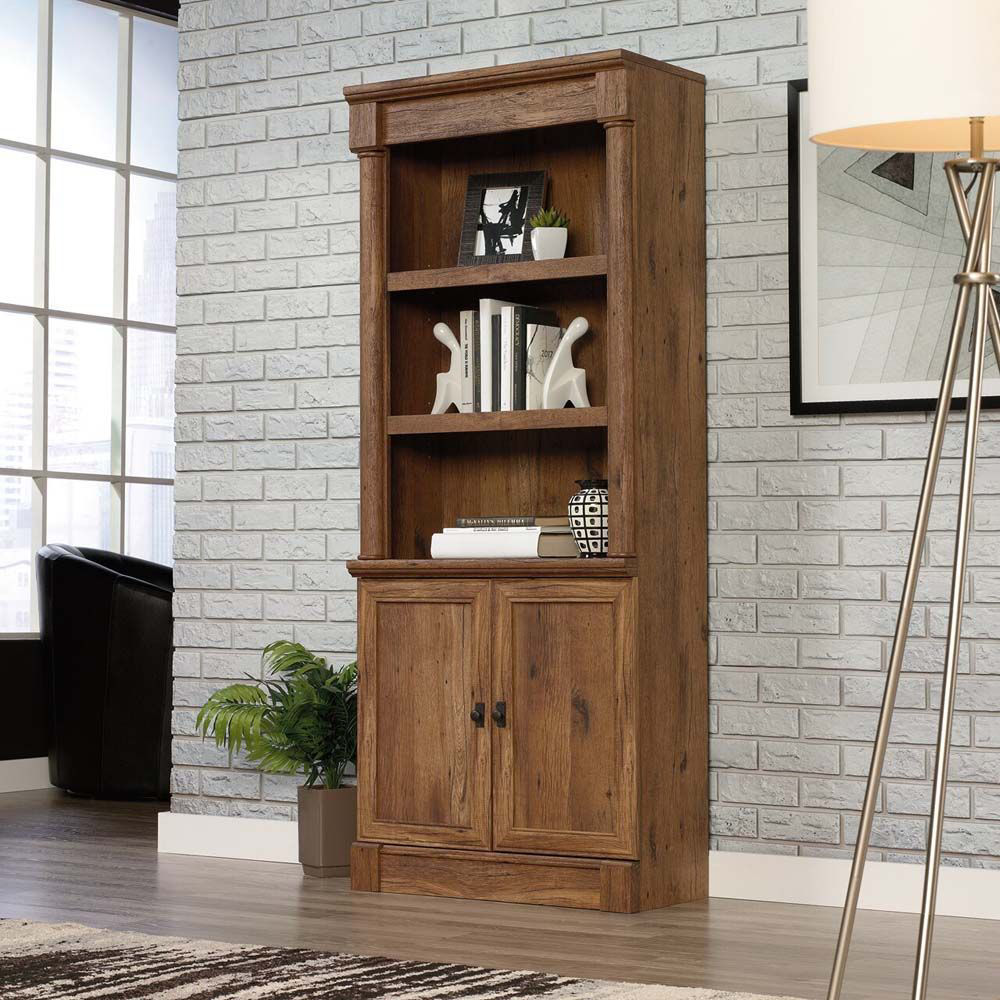 Vine Crest Library With Doors - Vintage Oak - Lifestyle