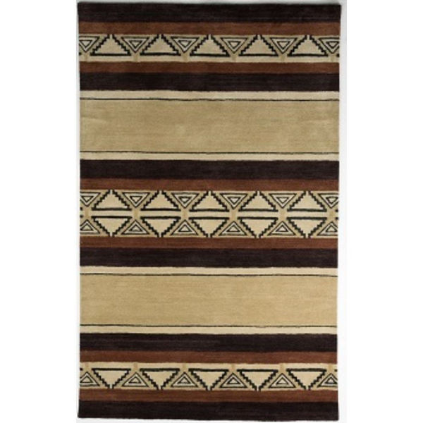 Picture of Tan and Brown Hand-Tufted Southwest Wool Rug