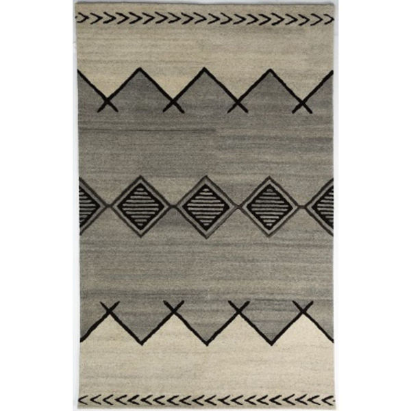 Picture of Gray and Ivory Hand-Tufted Southwest Wool Rug