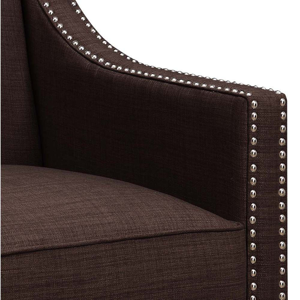 Erica Accent Chair - Chocolate - Arm Inside
