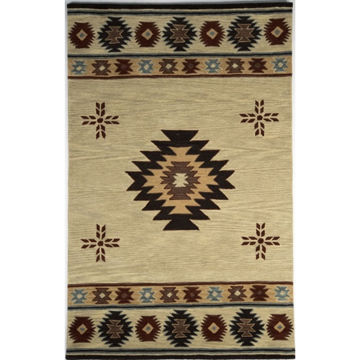 Beige and Browns Southwest Medallion Wool Rug