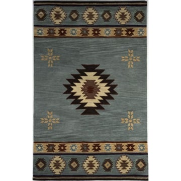 Blue and Beige Southwest Medallion Wool Rug