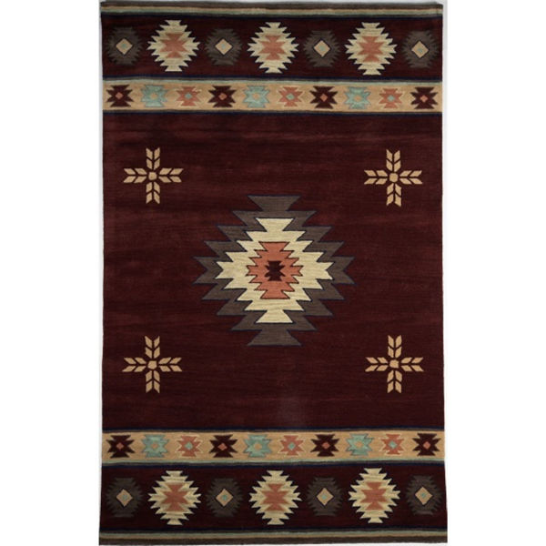Red and Beige Southwest Medallion Wool Rug