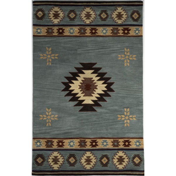 Picture of Blue and Beige Southwest Medallion Wool Rug - 5' x 8'