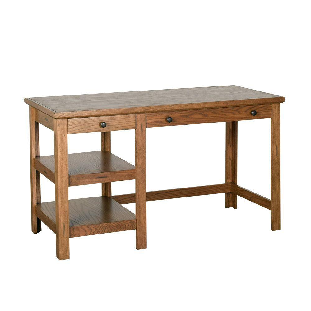 "54"" Golden Oak Writing Desk"