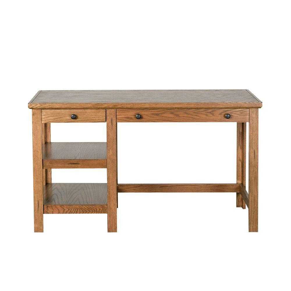 "54"" Golden Oak Writing Desk - Front"