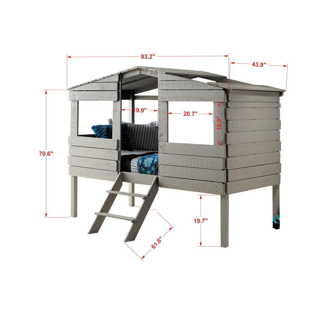 Tree House Rustic Grey Loft Side Dimensions