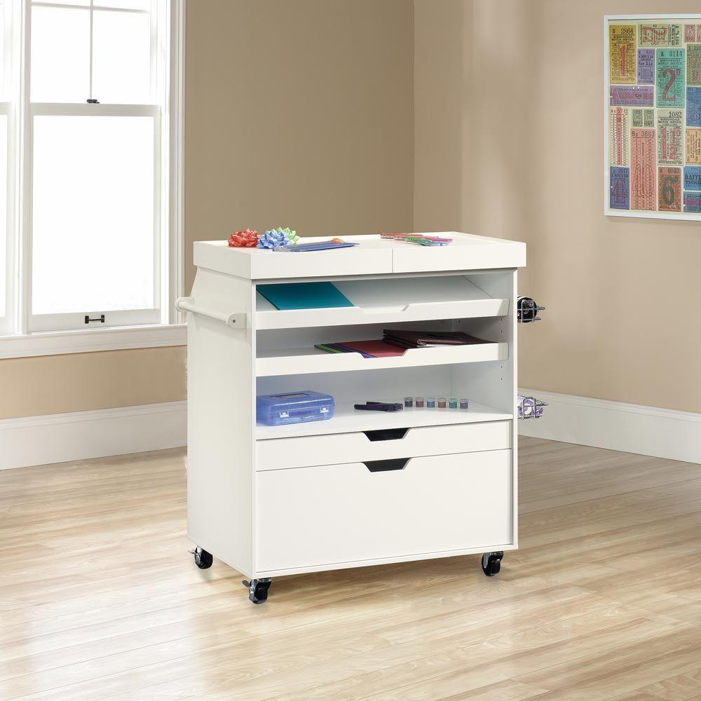 Soft White Craft Cart - Lifestyle Front