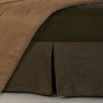 Picture of Chocolate Faux Leather Bedskirt - Queen
