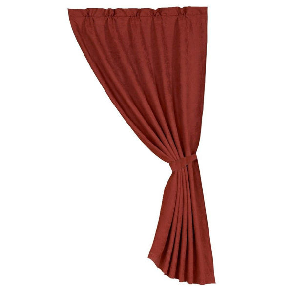 Picture of Red Faux Suede Single Panel Curtain