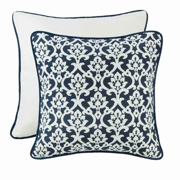 Picture of Kavali Navy and White Floral Jaquard Euro Sham