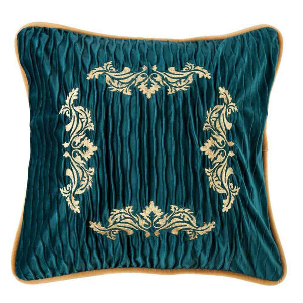 Picture of Loretta Velvet Embroidery Pillow - Teal