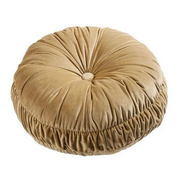 Picture of Loretta Velvet Round Pillow - Gold