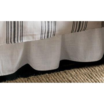 Picture of Blackberry Gathered White Linen Bedskirt - King