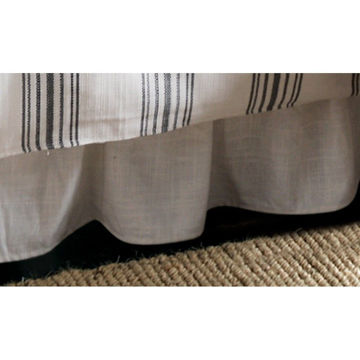 Picture of Blackberry Gathered White Linen Bedskirt - Queen