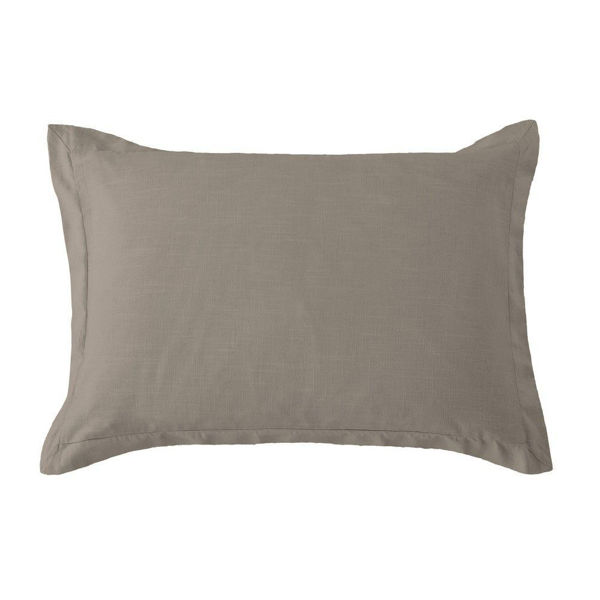 Picture of Hera Washed Linen Tailored Sham - Taupe - Standard