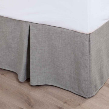Picture of Gray Taupe Linen Bedskirt - Queen