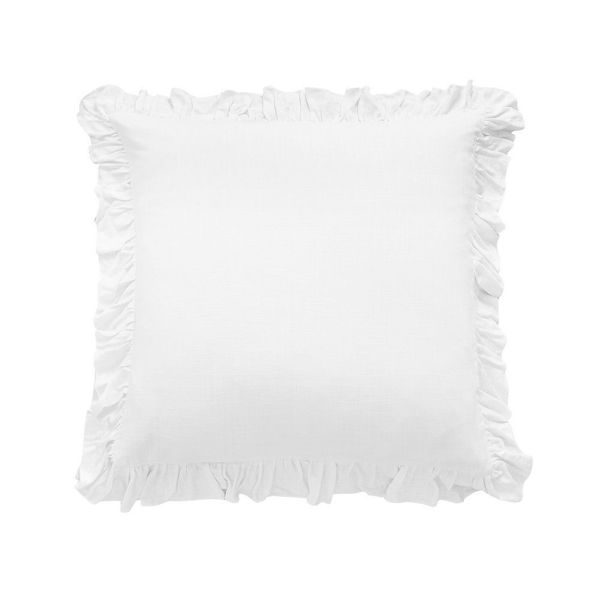 Picture of Lily Washed Linen Ruffled Euro Sham - White