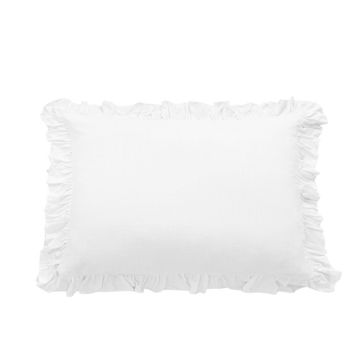 Picture of Lily Washed Linen Ruffled Sham - White - King