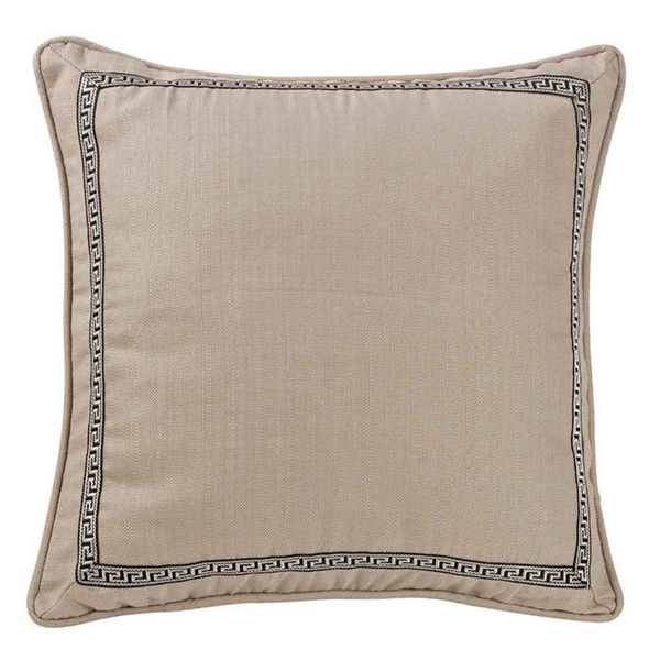 Picture of Augusta Greek Key Trim Linen Euro Sham