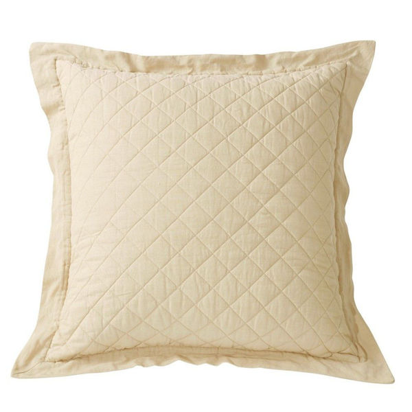 Picture of Diamond Linen Quilted Euro Sham - Cream
