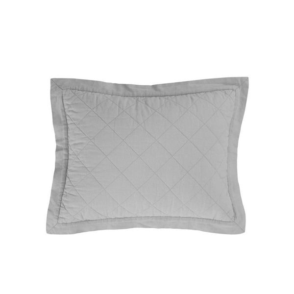 Picture of Diamond Linen Quilted Boudoir Pillow - Gray