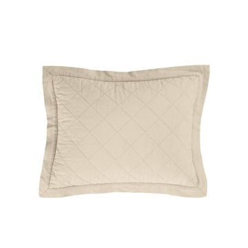 Picture of Diamond Linen Quilted Boudoir Pillow - Tan
