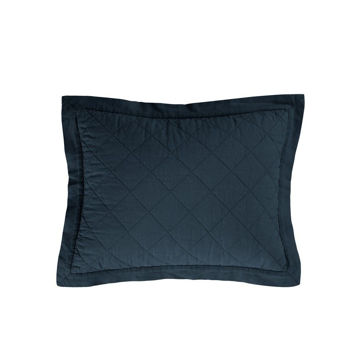 Picture of Diamond Linen Quilted Boudoir Pillow - Navy