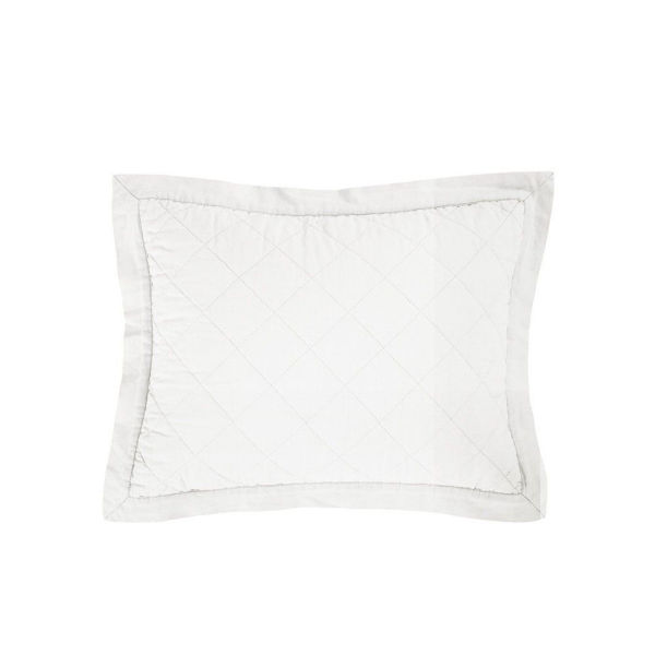 Picture of Diamond Linen Quilted Boudoir Pillow - White