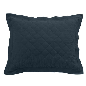 Picture of Diamond Linen Sham - Navy - King