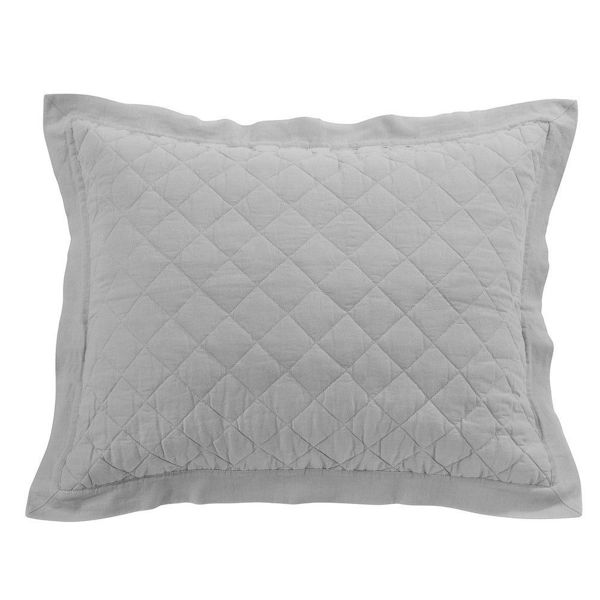 Picture of Diamond Linen Quilted Sham - Gray - Standard