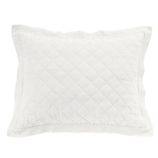 Picture of Diamond Linen Quilted Sham - White - Standard