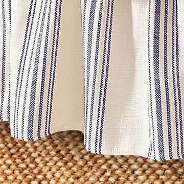Picture of Prescott Stripe Bedskirt - Navy - Queen