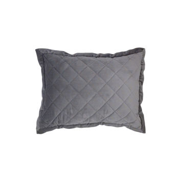Picture of Velvet Diamond Quilted Boudoir Pillow - Gray