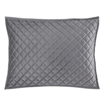 Picture of Velvet Diamond Quilted Sham - Pair - Gray - King