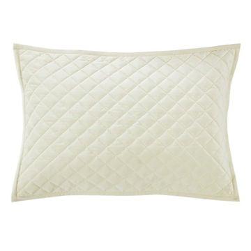 Picture of Velvet Diamond Quilted Sham - Pair - Cream - Stand