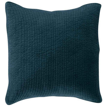 Picture of Stonewashed Cotton Quilted Velvet Euro Sham - Blue