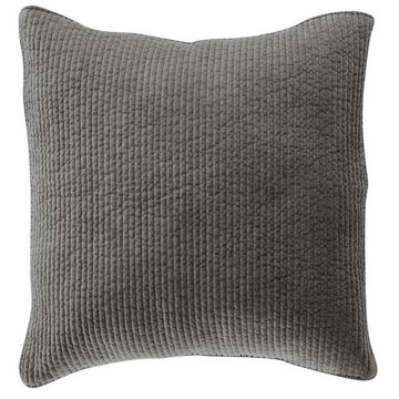 Picture of Stonewashed Cotton Quilted Velvet Euro Sham - Gray