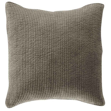 Picture of Stonewashed Cotton Quilted Velvet Euro Sham - Taup