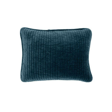 Picture of Stonewashed Cotton Velvet Boudoir Pillow - Blue