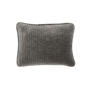 Picture of Stonewashed Cotton Velvet Boudoir Pillow - Gray