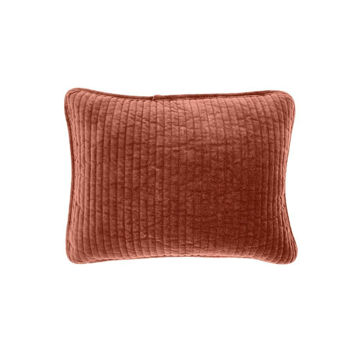 Picture of Stonewashed Cotton Velvet Boudoir Pillow - Salmon