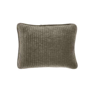 Picture of Stonewashed Cotton Velvet Boudoir Pillow - Taupe