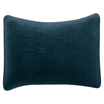 """Picture of Stonewashed Cotton Quilted Velvet 34"""" Sham - Blue"""