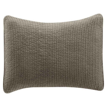 """Picture of Stonewashed Cotton Quilted Velvet 34"""" Sham - Taupe"""