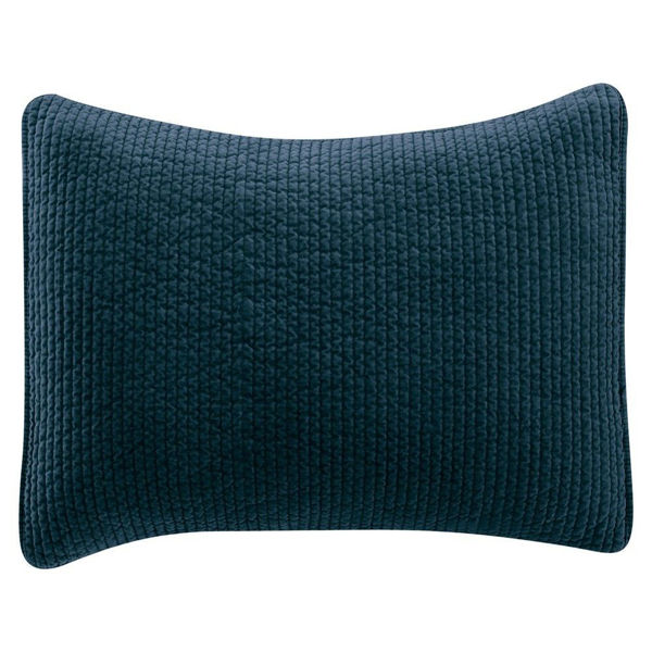 Picture of Stonewashed Cotton Quilted Velvet Sham - Blue