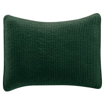 Picture of Stonewashed Cotton Quilted Velvet Sham - Emerald