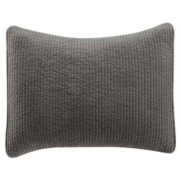 Picture of Stonewashed Cotton Quilted Velvet Sham - Gray