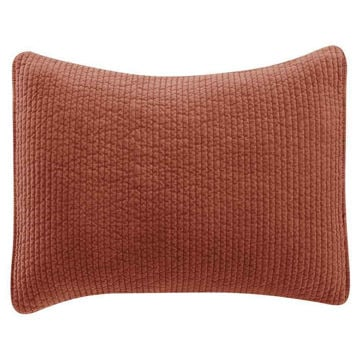 Picture of Stonewashed Cotton Quilted Velvet Sham - Salmon